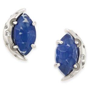Kendra Scott Blue Agate Silver Stud Earrings